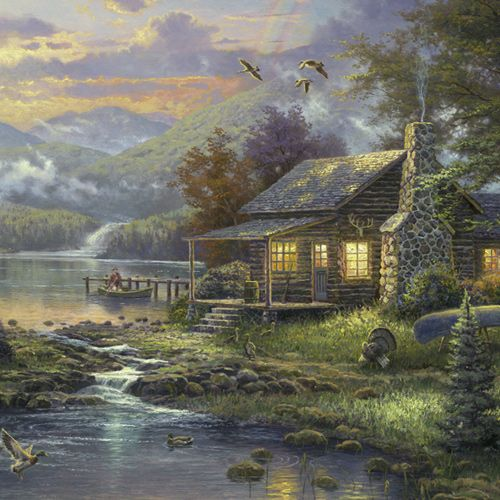 Design of Nature, Painting, Natural landscape, Sky, House, Bank, Morning, Watercolor paint, Tree, Home with black, gray, green, red, blue colors