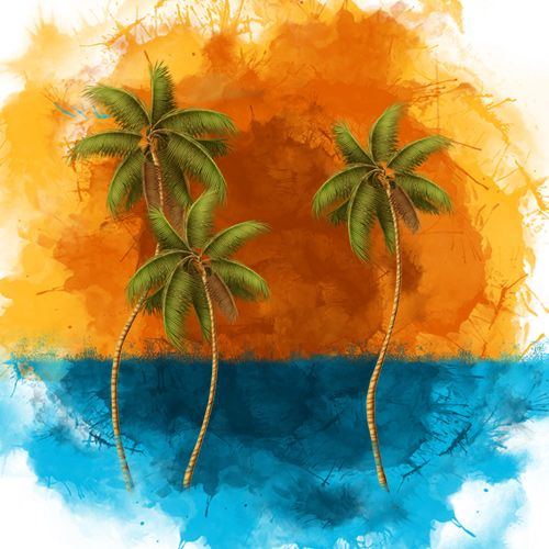 Design of Palm tree, Watercolor paint, Arecales, Leaf, Tree, Tropics, Plant, Illustration, Art, Paint with red, blue, green, orange, black, pink colors