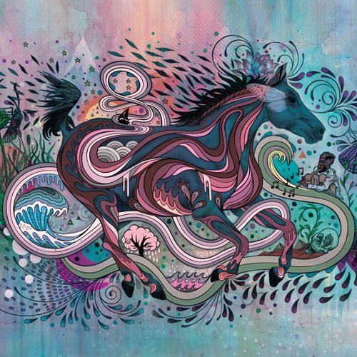 Design of Illustration, Art, Visual arts, Graphic design, Fictional character, Psychedelic art, Pattern, Drawing, Painting, Mythology with gray, black, blue, red, purple colors