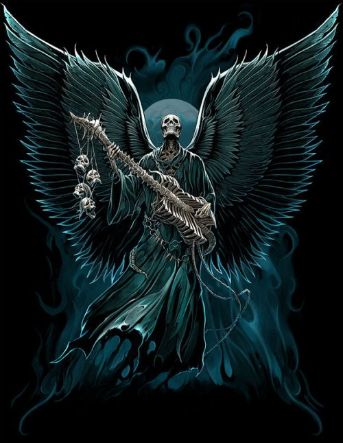 Design of Angel, Wing, Supernatural creature, Fictional character, Illustration, Mythology, Darkness, Graphic design, Art with black, blue, white colors