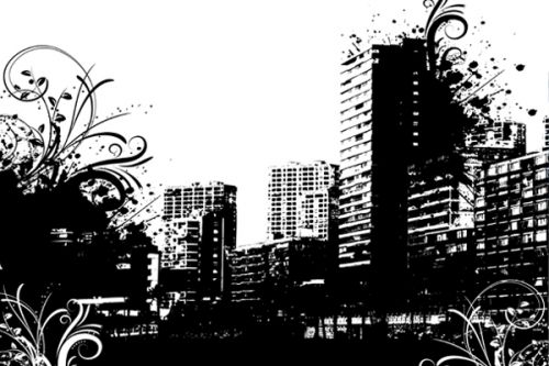 Design of Cityscape, City, Metropolis, Metropolitan area, Human settlement, Skyline, Black-and-white, Text, Urban area, Skyscraper with black, white, gray colors