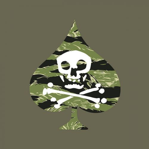 iPad Pro 12.9-inch Skin design of Military camouflage, Green, Camouflage, Illustration, Leaf, Skull, Pattern, Design, Headgear, Plant with black, white, green colors
