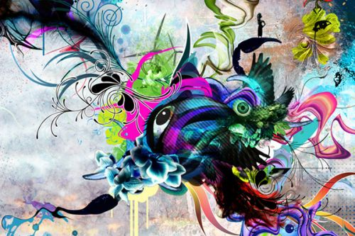 Design of Graphic design, Psychedelic art, Art, Illustration, Purple, Visual arts, Graffiti, Street art, Design, Painting with gray, black, blue, green, purple colors