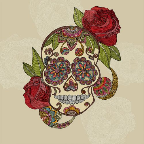 Acer Chromebook 11 C740 Skin design of Illustration, Art, Pattern, Design, Skull, Plant, Rose, Flower, Font, Bone with gray, black, red, green colors