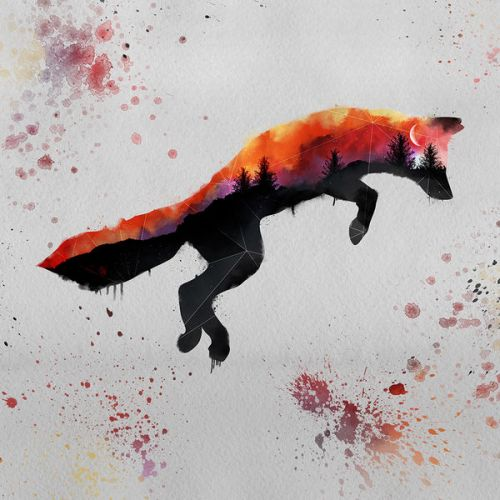 Design of Illustration, Watercolor paint, Art, Graphic design, Painting, Red fox, Visual arts, Paint, Drawing, Tail with gray, black, red, yellow, orange, white colors