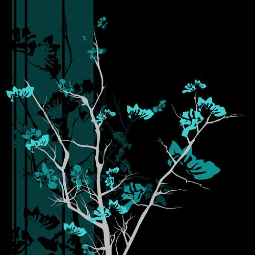 Lenovo Yoga 920 Skin design of Branch, Black, Blue, Green, Turquoise, Teal, Tree, Plant, Graphic design, Twig with black, blue, gray colors