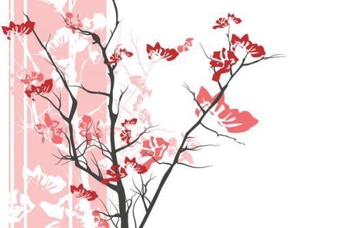 Design of Branch, Red, Flower, Plant, Tree, Twig, Blossom, Botany, Pink, Spring with white, pink, gray, red, black colors