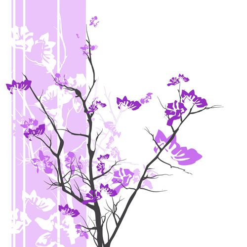 Design of Branch, Purple, Violet, Lilac, Lavender, Plant, Twig, Flower, Tree, Wildflower with white, purple, gray, pink, black colors