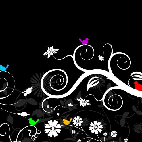 Design of Graphic design, Floral design, Pattern, Design, Illustration, Leaf, Branch, Visual arts, Font, Plant with black, gray, white colors