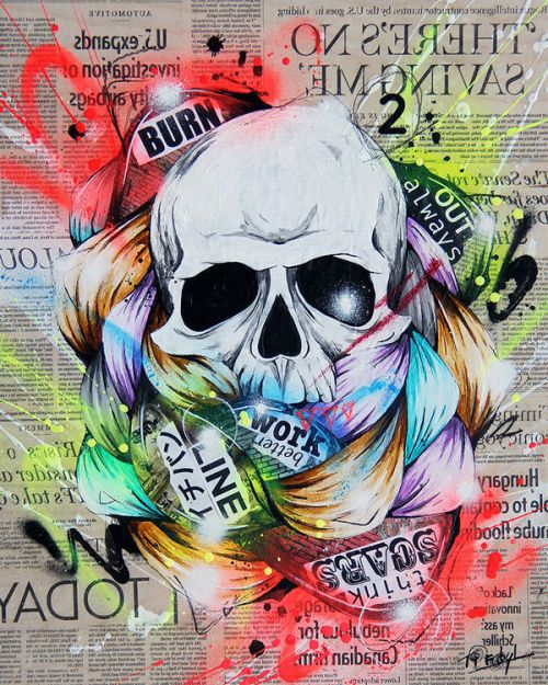 Design of Street art, Text, Graphic design, Font, Illustration, Art, Graffiti, Skull, Poster, Advertising with gray, black, red, green, blue colors