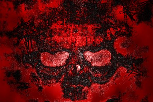 Design of Red, Heart, Graphics, Pattern, Skull, Graphic design, Flesh, Visual arts, Art, Illustration with black, red colors