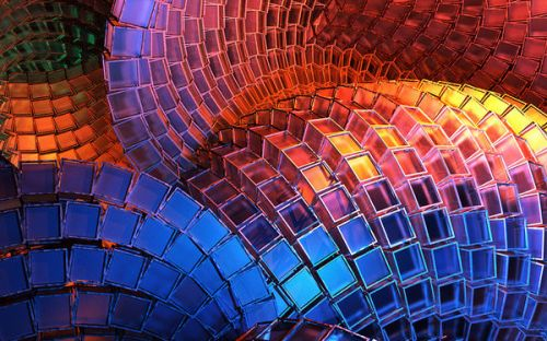 Kicker Amphitheater K3 Skin design of Blue, Red, Orange, Light, Pattern, Architecture, Design, Fractal art, Colorfulness, Psychedelic art with black, red, blue, purple, gray colors