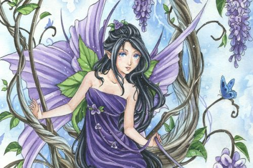 Nintendo DS Skin design of Cg artwork, Fictional character, Purple, Illustration, Plant, Anime, Mythical creature, Art, Mythology with gray, black, purple, blue, white colors