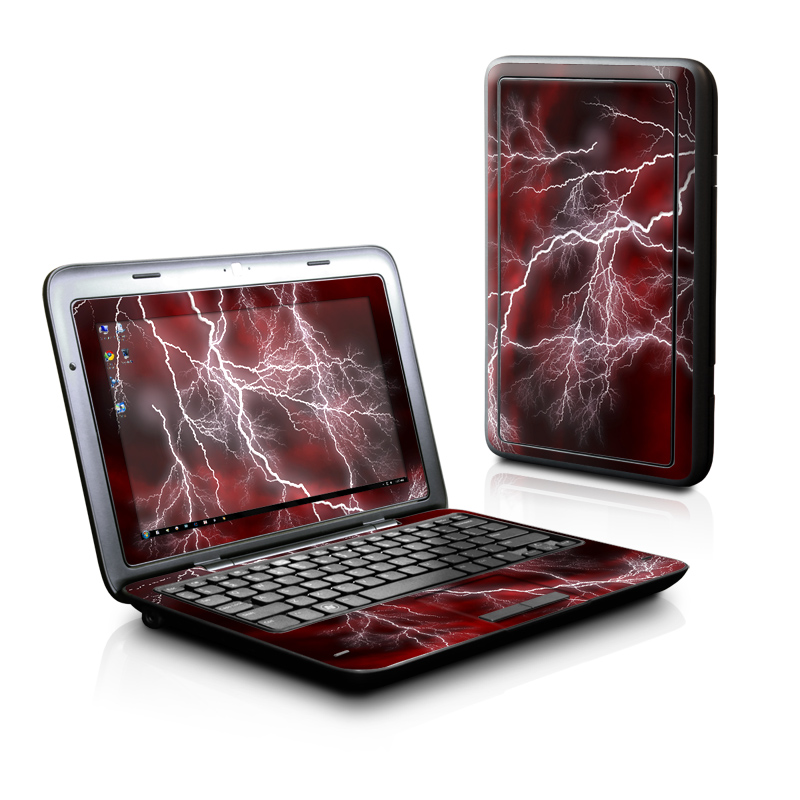 Dell Inspiron duo Skin design of Thunder, Thunderstorm, Lightning, Red, Nature, Sky, Atmosphere, Geological phenomenon, Lighting, Atmospheric phenomenon with red, black, white colors