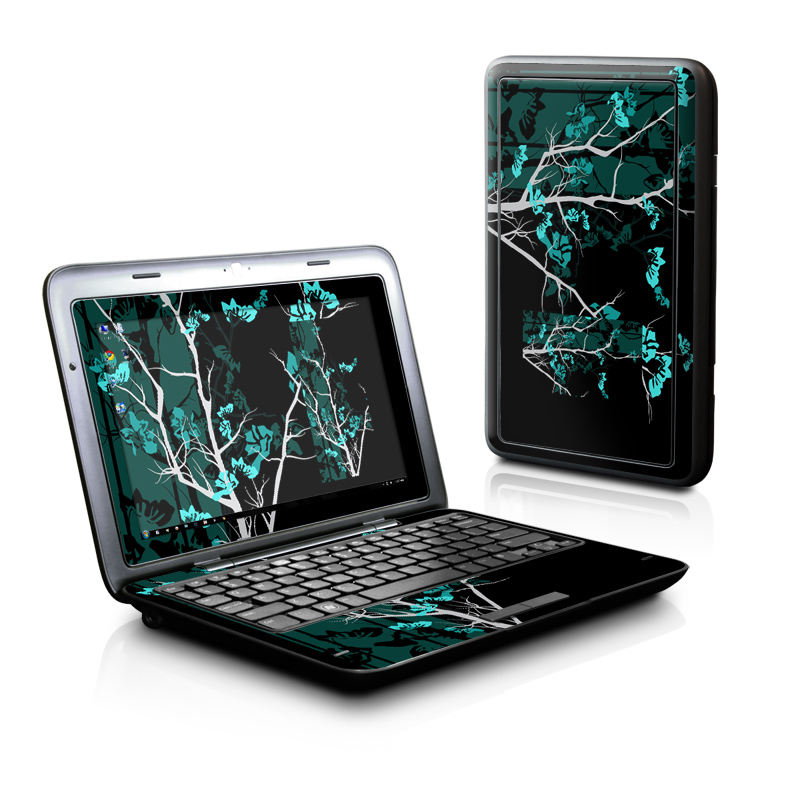 Dell Inspiron duo Skin design of Branch, Black, Blue, Green, Turquoise, Teal, Tree, Plant, Graphic design, Twig with black, blue, gray colors