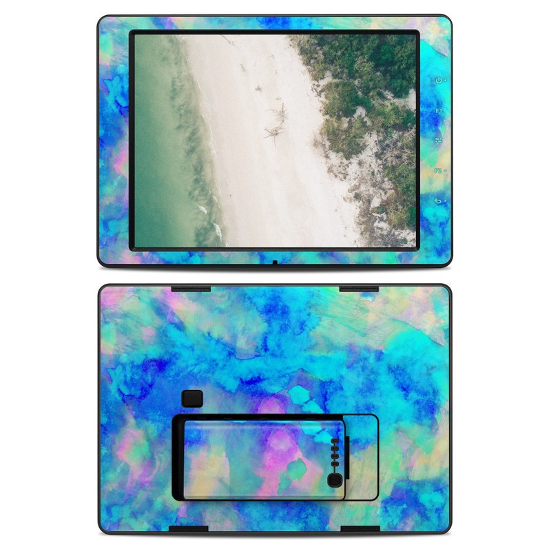 DJI CrystalSky 7.85-inch Skin design of Blue, Turquoise, Aqua, Pattern, Dye, Design, Sky, Electric blue, Art, Watercolor paint with blue, purple colors