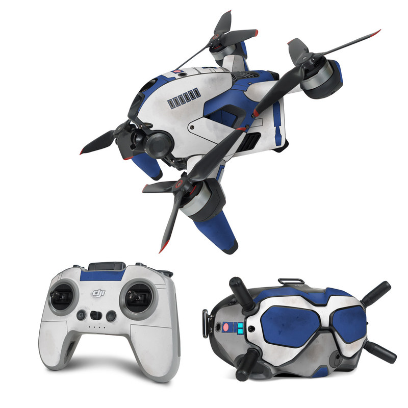 DJI FPV Combo Skin design with blue, gray, green, red colors