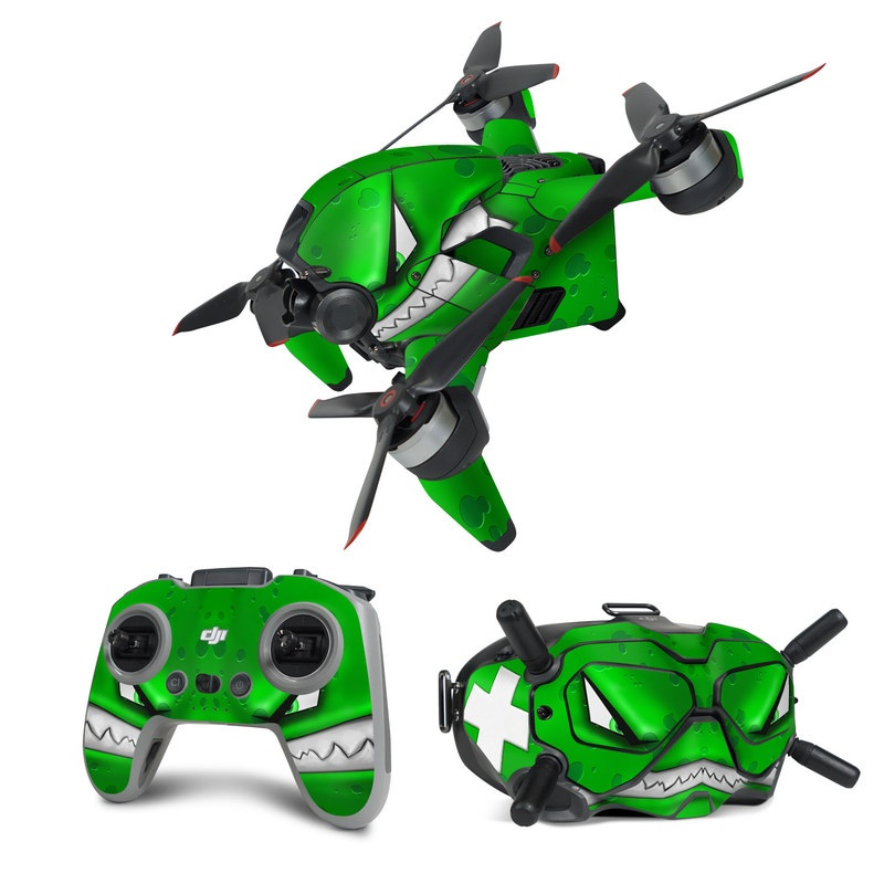 DJI FPV Combo Skin design of Green, Font, Animation, Logo, Graphics, Games with green, white colors
