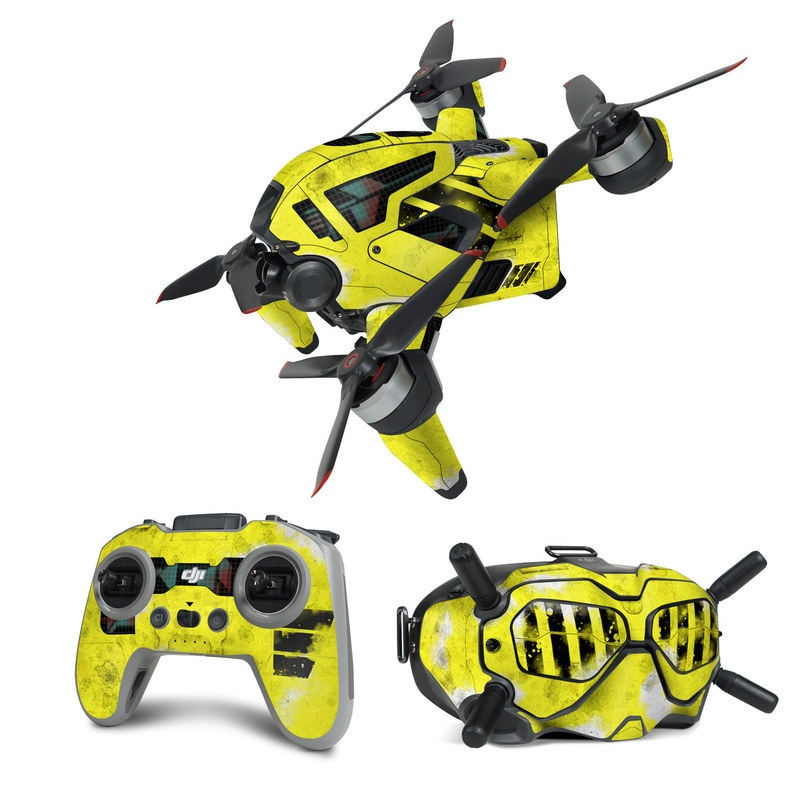 DJI FPV Combo Skin design of Yellow, Green, Font, Pattern, Graphic design with black, yellow, gray, blue, green colors