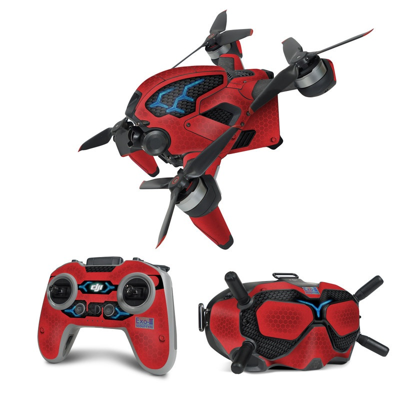 DJI FPV Combo Skin design with red, black, blue colors