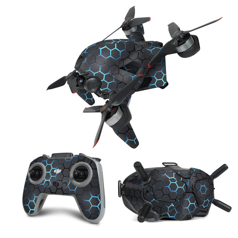 DJI FPV Combo Skin design of Pattern, Water, Design, Circle, Metal, Mesh, Sphere, Symmetry with black, gray, blue colors
