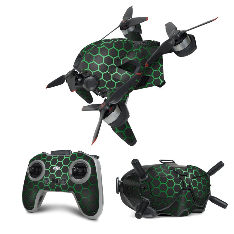 DJI FPV Combo Skin design of Pattern, Metal, Design, Carbon, Space, Circle with black, gray, green colors
