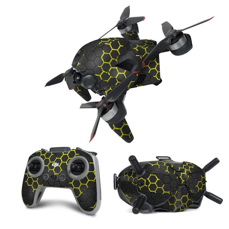 DJI FPV Combo Skin design of Black, Pattern, Yellow, Mesh, Net, Chain-link fencing, Design, Metal with black, gray, yellow colors