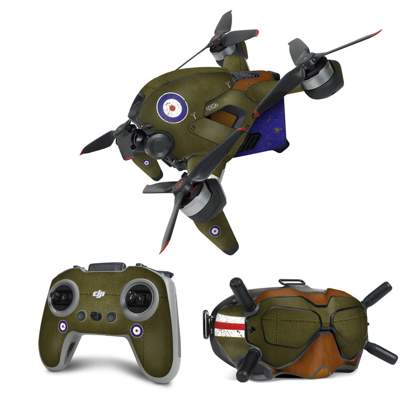 DJI FPV Combo Skin design with green, red, white, blue colors
