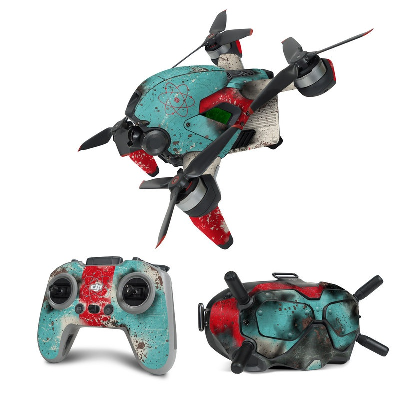 DJI FPV Combo Skin design with red, blue, gray, black colors