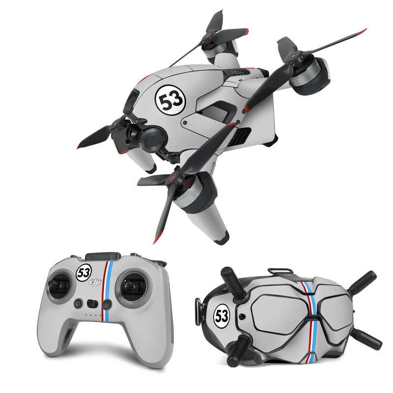 DJI FPV Combo Skin design of Line, Sign, Games with gray, blue, red, white, black colors