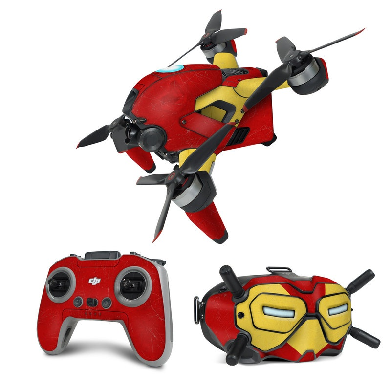 DJI FPV Combo Skin design with red, yellow, white colors