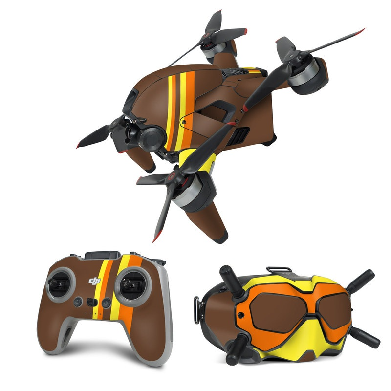 DJI FPV Combo Skin design of Orange, Yellow, Line, Brown, Font, Material property, Graphic design, Pattern, Parallel with brown, orange, yellow colors