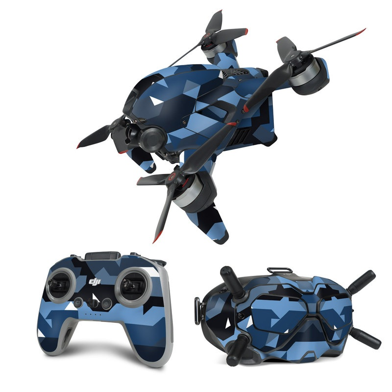 DJI FPV Combo Skin design of Blue, Pattern, Design, Font, Line, Camouflage, Illustration, Triangle with blue, black, white, gray colors