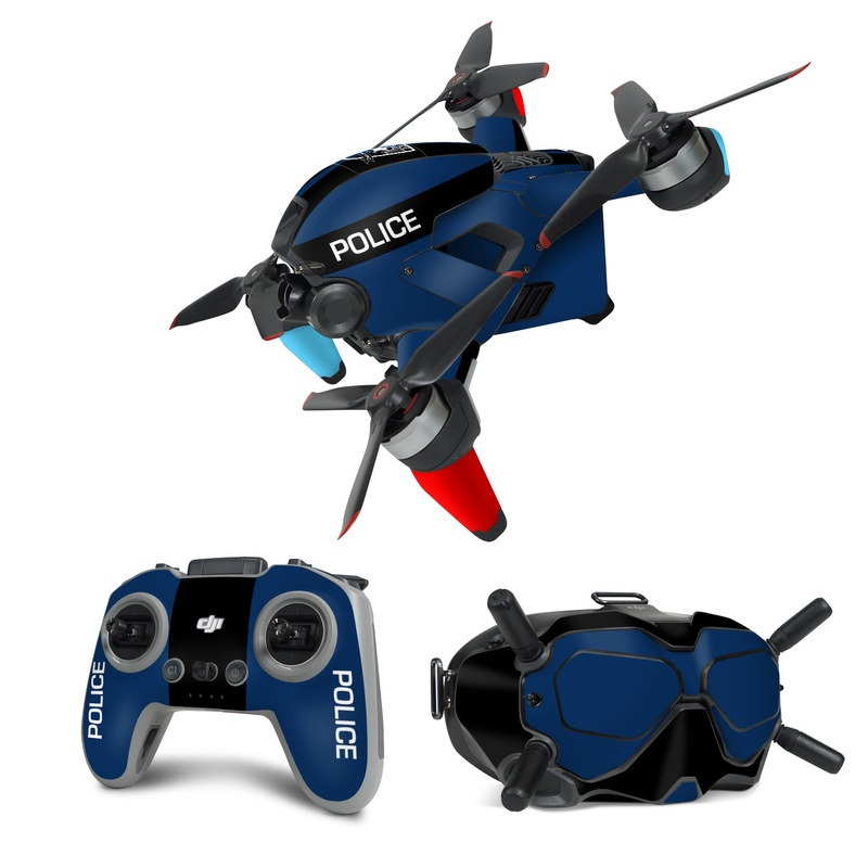 DJI FPV Combo Skin design with black, white, blue, red colors