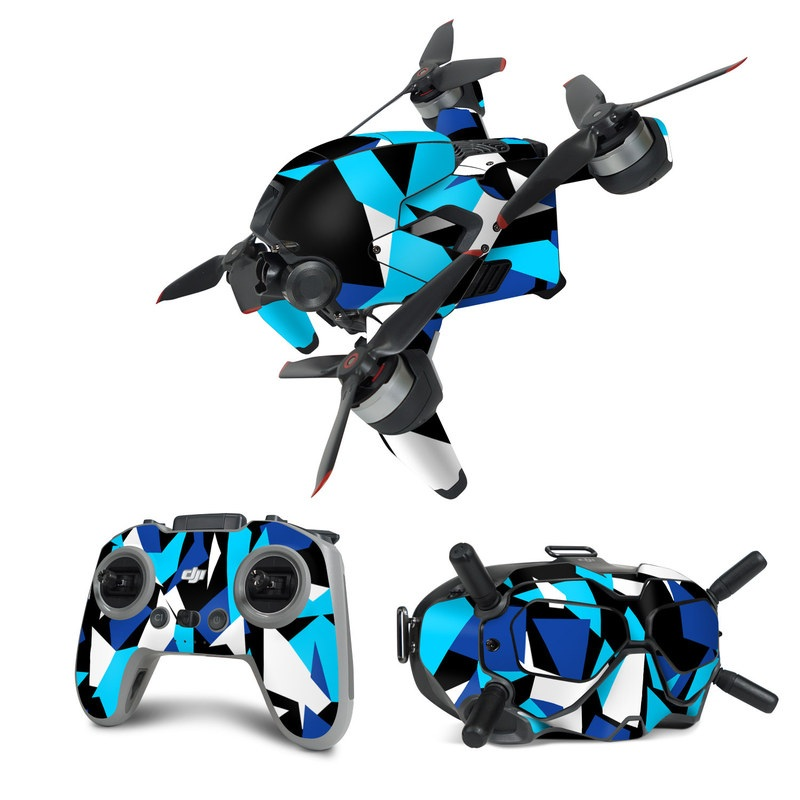 DJI FPV Combo Skin design of Blue, Pattern, Turquoise, Cobalt blue, Teal, Design, Electric blue, Graphic design, Triangle, Font with blue, white, black colors