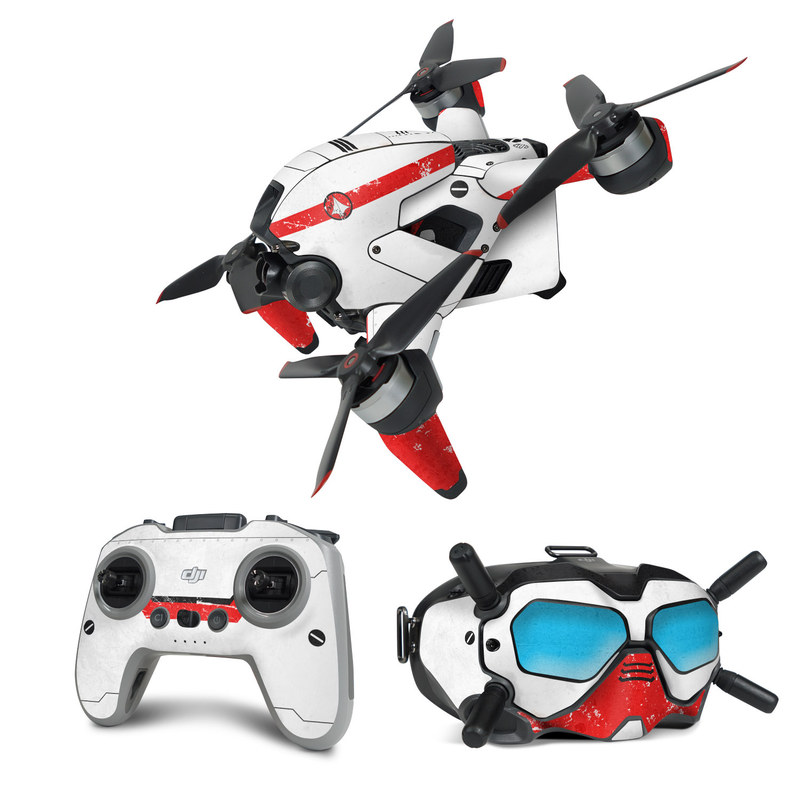 DJI FPV Combo Skin design of Floppy disk, Technology, Electric red, Fictional character with white, red, black, gray colors