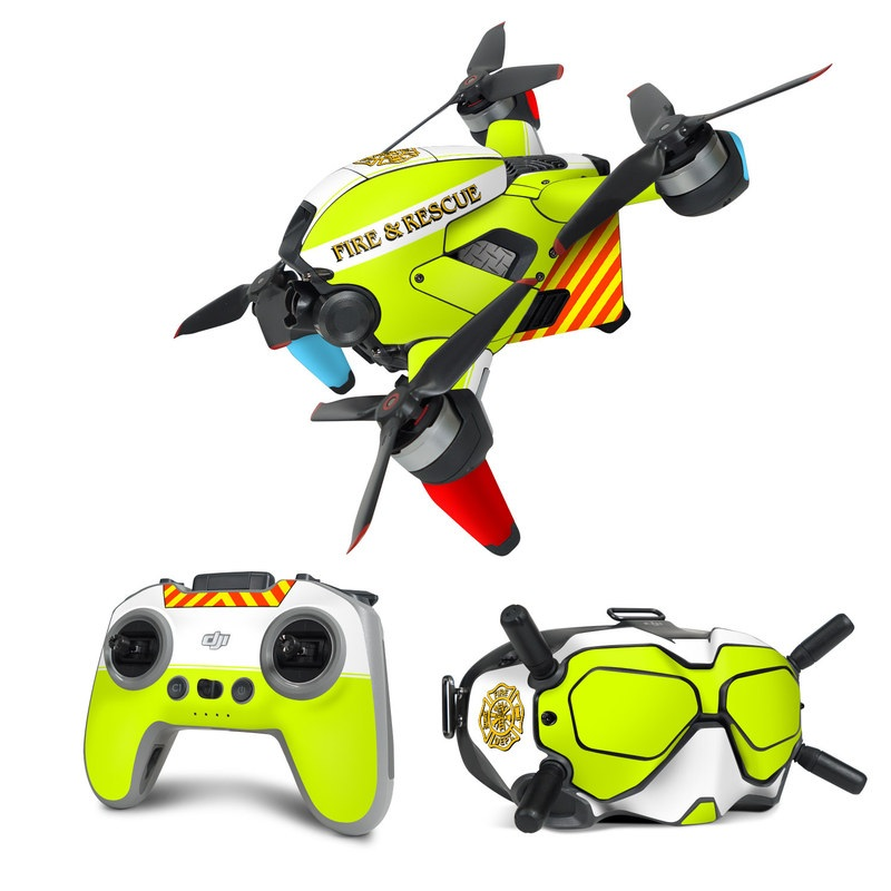 DJI FPV Combo Skin design of Yellow, Line, Font, Military rank with white, green, red, yellow colors
