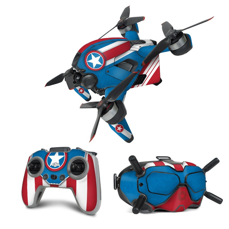 DJI FPV Combo Skin design with white, blue, red colors