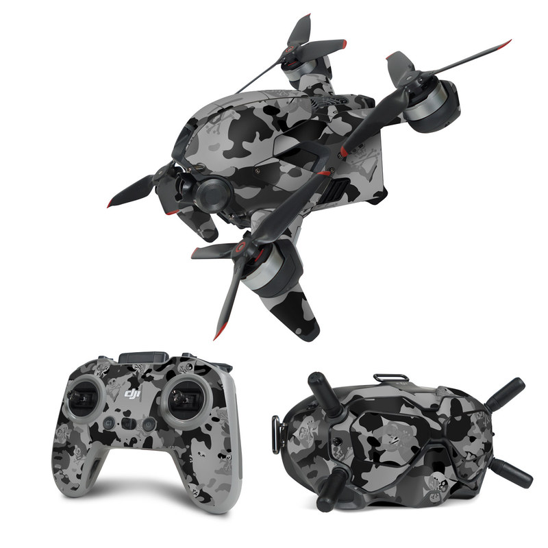DJI FPV Combo Skin design of Military camouflage, Pattern, Design, Camouflage, Illustration, Uniform, Black-and-white, Wallpaper, Art with black, gray colors