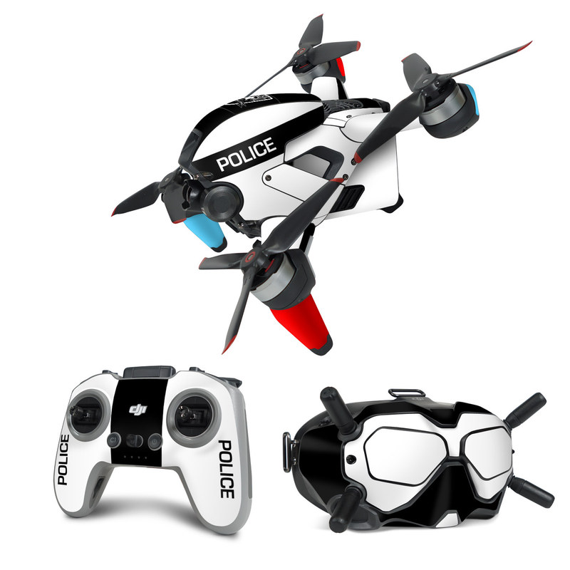 DJI FPV Combo Skin design with white, black, red colors