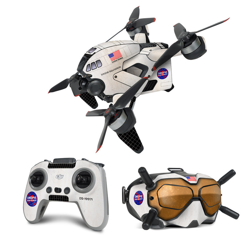 DJI FPV Combo Skin design with black, white, red, blue, brown colors