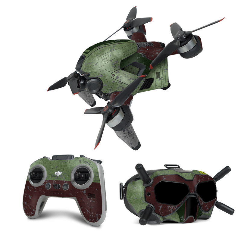 DJI FPV Combo Skin design with red, green, gray colors
