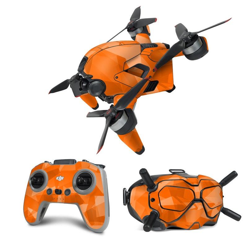 DJI FPV Combo Skin design of Orange, Pattern, Peach, Line, Design, Triangle with orange colors