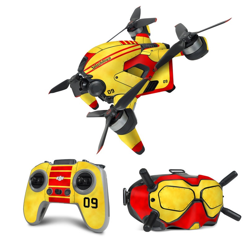 DJI FPV Combo Skin design with red, yellow, black colors