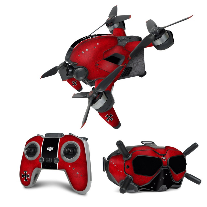 DJI FPV Combo Skin design of Bullet, Holes, War, Red, Text, Carmine, Colorfulness, Maroon, Symbol, Coquelicot with red, black, white, gray colors