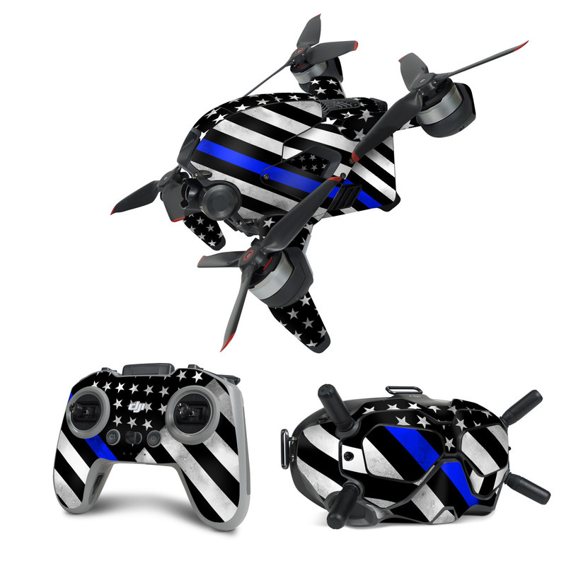 DJI FPV Combo Skin design of Flag of the united states, Flag, Cobalt blue, Pattern, Line, Black-and-white, Design, Monochrome, Electric blue, Parallel with black, white, gray, blue colors