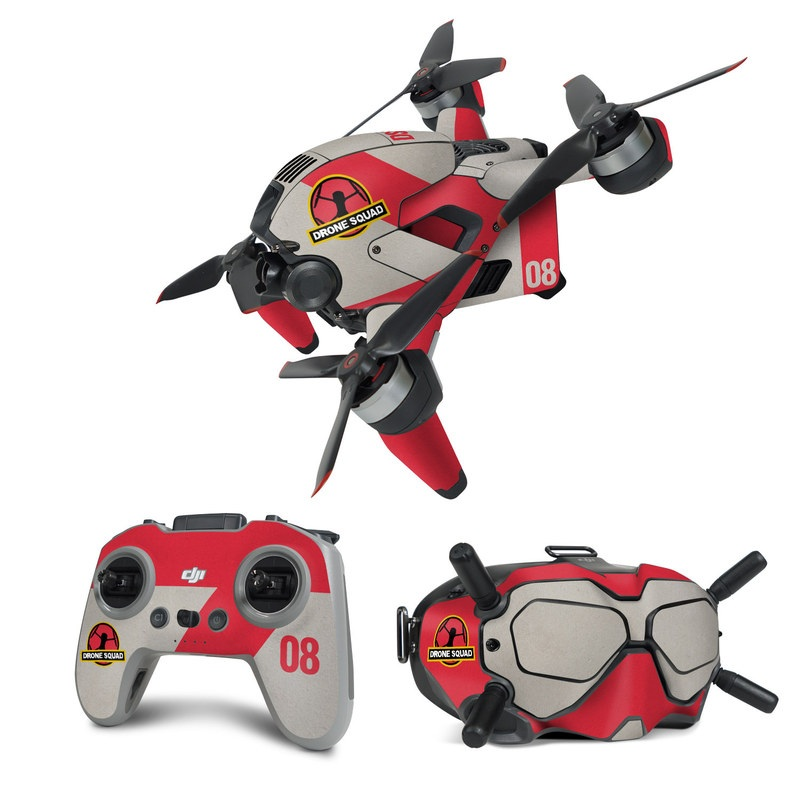 DJI FPV Combo Skin design with red, gray, black, white, yellow colors