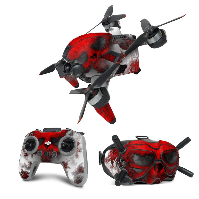 DJI FPV Combo Skin design of Red, Graphic design, Skull, Illustration, Bone, Graphics, Art, Fictional character with red, gray, black, white colors