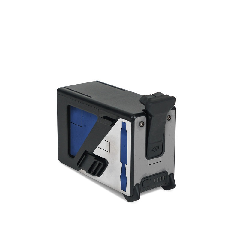 DJI FPV Intelligent Flight Battery Skin design with blue, gray, green, red colors