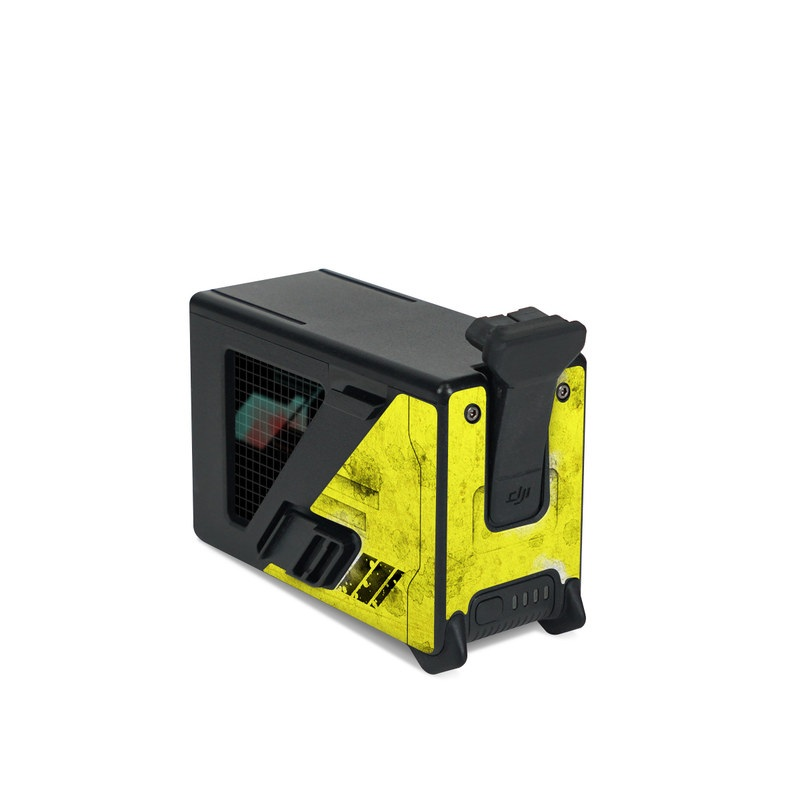 DJI FPV Intelligent Flight Battery Skin design of Yellow, Green, Font, Pattern, Graphic design with black, yellow, gray, blue, green colors